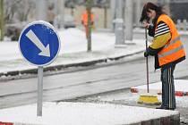 Zima a sníh v Hradci Králové.