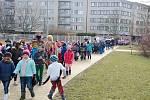 Masopustní průvod dětí z malšovických škol v Hradci Králové.