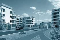 Bytová výstavba na plachtě. Autoři architekti K. Albrecht, P. Doležal, T. Vymetálek.  Z výstavy  VIZE MĚSTA  HK 2006 - 2009