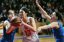 Ženská basketbalová liga: Sokol Hradec Králové - BK Lokomotiva Karlovy Vary.