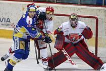 Čtvrtfinále play off hokejové extraligy: Mountfield HK - PSG Zlín.