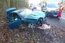 U Třebechovic havarovalo auto, skončilo v lese.