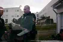 Strážníci při nasazování pout agresivní ženě.