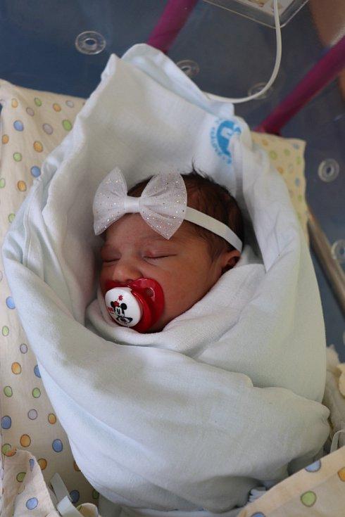 BARBARA CÍSAROVÁ poprvé vykoukla na svět 10. června v 1.07 hodin. Měřila 47 cm a vážila 2940 g. Mamince Barboře Císarové udělala obrovskou radost jako její po deseti letech vymodlené miminko.
