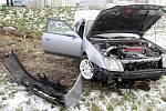 Havárie osobního automobilu ve Zborovské ulici v Hradci Králové.