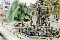 Objevený akvarel Mariánský sloup v Jaroměři od Karla Meisnera.