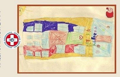 Charitativní kalendář s kresbami dětí.