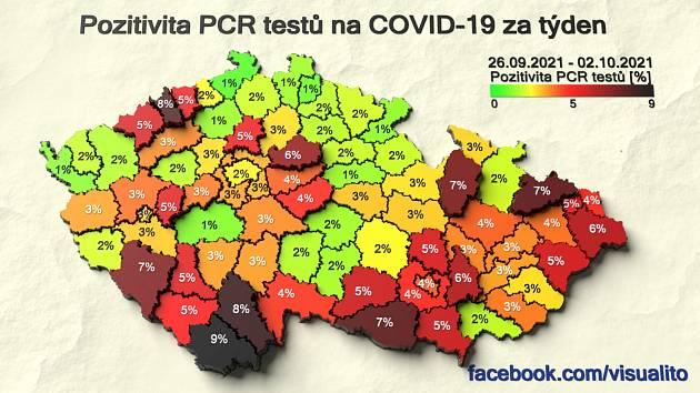 Pozitivita PCR testů k 3. říjnu 2021
