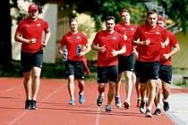 Příprava hokejistů Spartaku Moskva v Pardubicích.