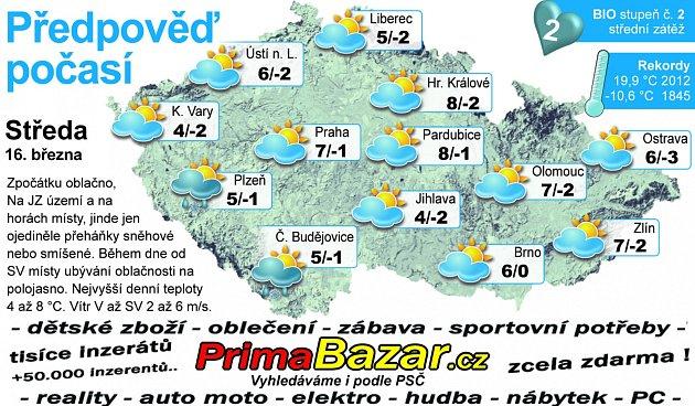 Předpověď počasí na středu 16.března.