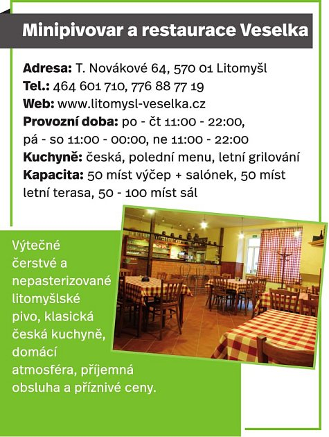 Minipivovar a restaurace Veselka, Litomyšl