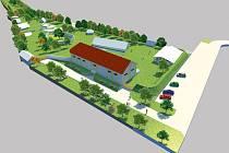 Pravěká vesnice Všestary: Vizualizace budoucí podoby archeoparku po dokončení chystané výstavby muzea.