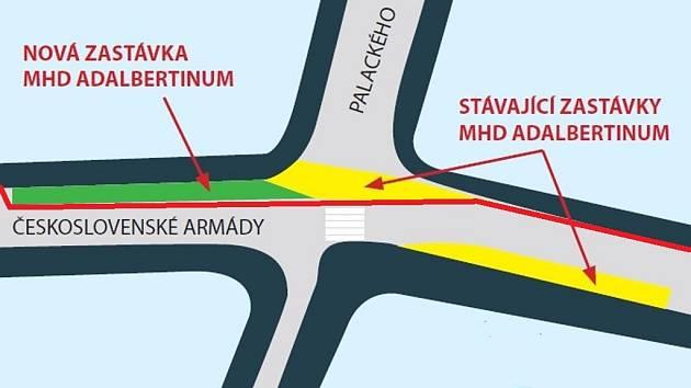KTERÁ ZVÍTĚZÍ? Městem preferovaná varianta 5B. Červená linka značí cyklopruhy.
