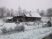 Požár domu v Lužanech.