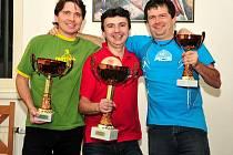 Nejlepší trojice hráčů – zleva: druhý Martin Jezdinský, vítěz turnaje Petr Ludvík a třetí Jiří Říčan.