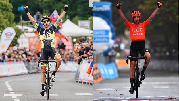 S RUKAMA NAD HLAVOU. Prakticky žádný rozdíl, Josef Černý vlevo takto slavil jeden ze svých triumfů v dresu Elkov Author, vpravo vítězí v páteční 19. etapě Gira d'Italia už v barvách CCC