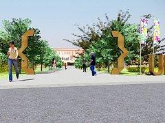 Vizualizace parku u hradecké univerzity - revitalizace kampusu na soutoku.