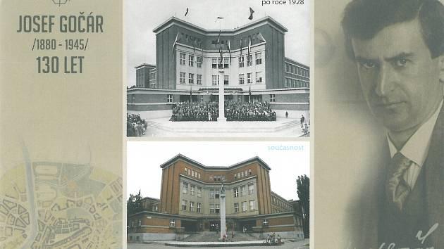 Architekt Josef Gočár a porovnávací fotografie gymnázia po roce 1928 a v současnosti.
