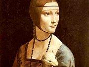 Leonardo da Vinci: Dáma s hranostajem (zobrazen výřez jednoho z nejznámějších mistrových obrazů).
