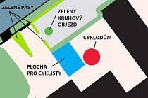 Studie plochy před hradeckým zimním stadionem počítá i s budoucí výstavbou parkovací věže pro kola.