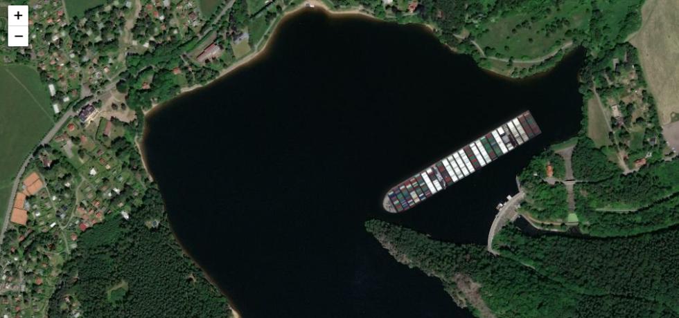 Jak by uvízlá kontejnerová loď ze Suezského průplavu vypadala na Seči