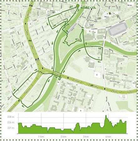Mapa běžeckého závodu.