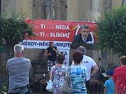 Demonstrace v Chlumci nad Cidlinou.