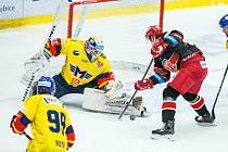 Hokejová extraliga: Mountfield HK - Madeta Motor České Budějovice.