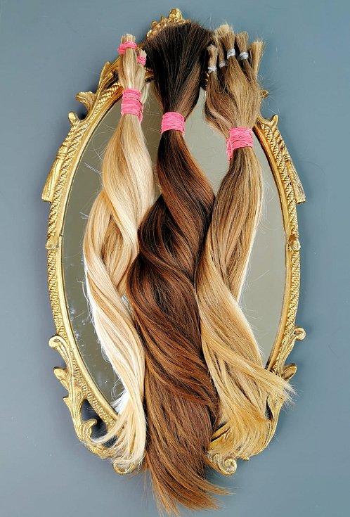 Ustřižené vlasy, které nadaci poslaly dárkyně.