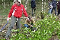 Desítky dobrovolníků včetně dětí přišly Na Plachtu na bridágu, kde odstraňovaly náletové rostliny.