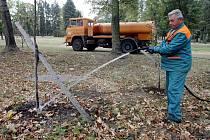 Šimkovy sady: dlouhotrvající sucho může nenávratně poškodit především mladé stromy.