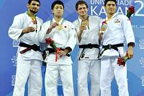 Medailisté v kategorii do 60 kilogramů – zleva: Rus Galstjan (2.), Japonec Kido (1.), Čech Petřikov (3.) a Korejec Kim (3.).