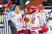 Tipsport extraliga ledního hokeje: Mountfield HK - HC Oceláři Třinec.