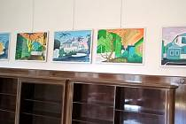 Výstava obrazů z cest Josefa Kejvala v galerii zámku Kvasiny.