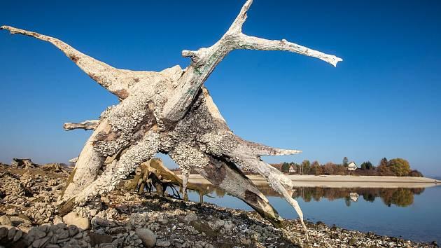 Sucho na přehradě Rozkoš.