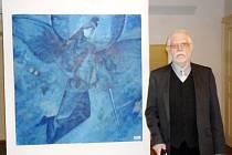 Vystavující výtvarník Oldřich Tlustoš.