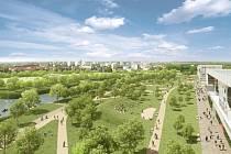 Park Malšovice. Návrh ECE Projektmanagementu Praha, park
