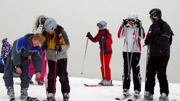 Zimní středisko v Deštném v Orlických horách.