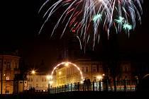 Novoroční ohnostroj v Hradci Králové