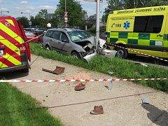 Dopravní nehoda u hradecké Fakultní nemocnice.