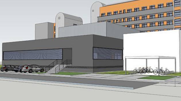 Vizualizace přístavby Pavilonu profesora Bašteckého pro nový lineární urychlovač.