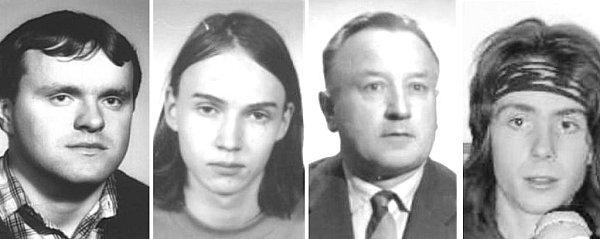 Na seznamu pohřešovaných osob je nyní vobou krajích 26lidí. Mezi nimi iEmil Klimpl - třetí zleva - a Jiří Beneš - první zleva, po nichž policisté pátrají již mnoho let. Tadeáš Vinkler - druhý zleva - a Roman Černohlávek se ztratili vzahraničí.