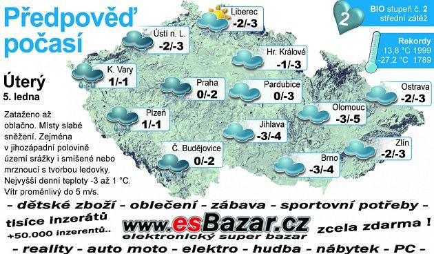 Předpověď počasí na úterý 5.ledna.