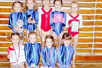 Sportovní gymnastky TJ Sokol Hradec Králové při závodech v Chrudimi.