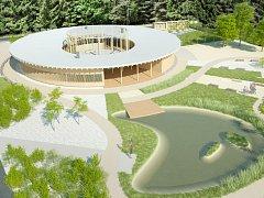 Vizualizace Lesního výukového centra v královéhradeckých městských lesích.