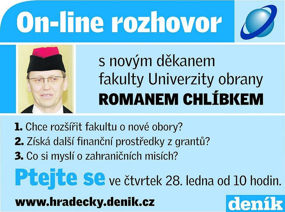 On-line rozhovor s novým děkanem fakulty Univerzity obrany Romanem Chlíbkem.