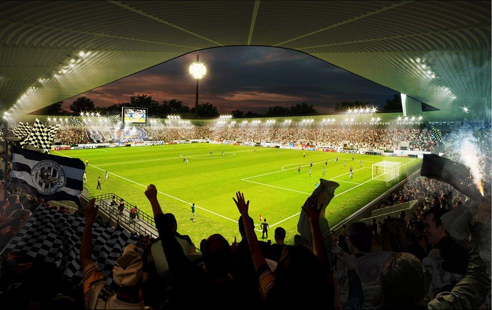 Vizualizace nového fotbalového stadionu. Hotový má být na jaře 2023.