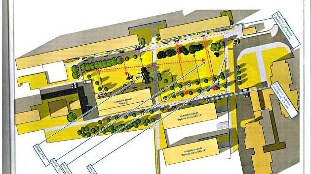 Dva obytné domy s parkovacím domem schovaným uprostřed v podzemí chce do tří let na sídlišti Moravské Předměstí vybudovat firma Magnum Vive z Brna. Projektantem je ing. arch. Lukáš Obršál