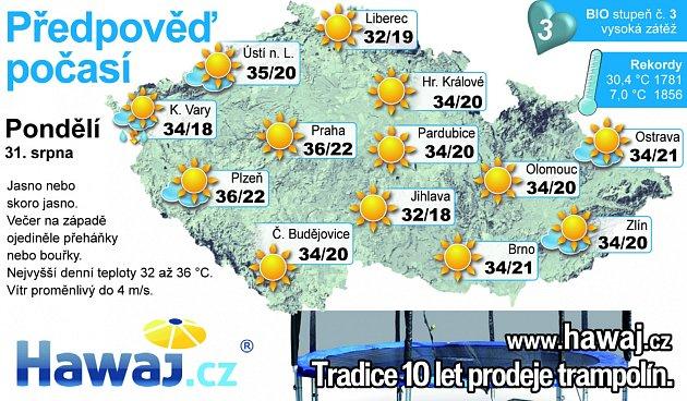 Předpověď počasí na pondělí 31.srpna.