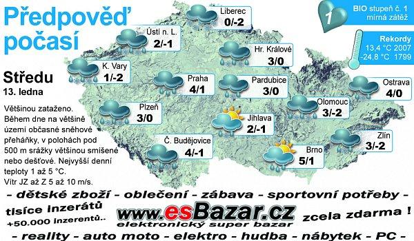 Předpověď počasí na středu 13.ledna.